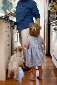 Toddler and dog in kitchen with their parent cooking